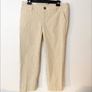 GAP stretch ankle pants | Gray and cream striped